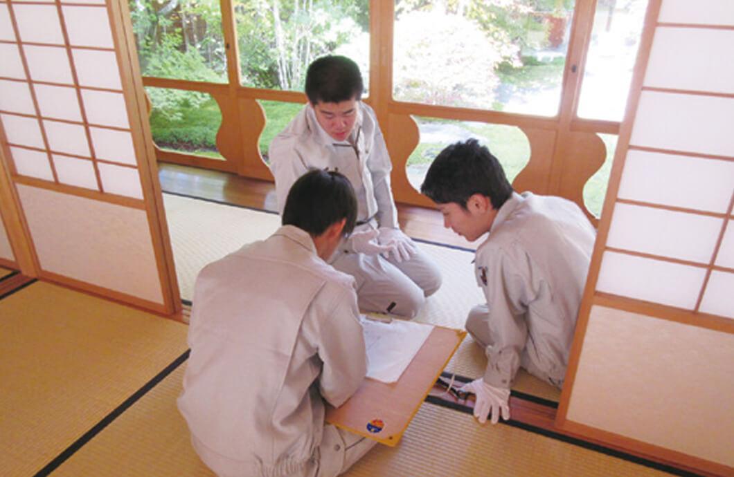 伝統建築調査 中央工学校 軽井沢研修所内 茶室広間にて