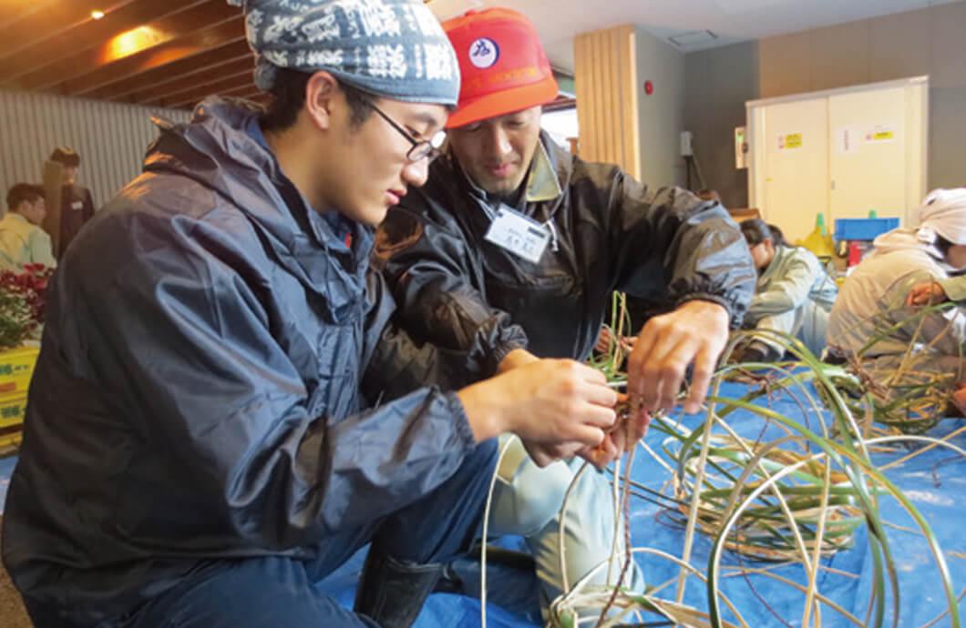 総合造園実習  石張り施工総合造園実習 竹籠の作製