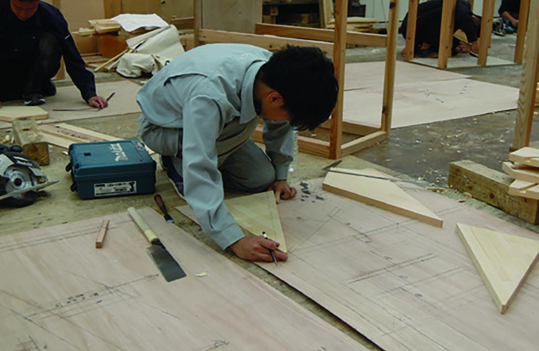 階段 段板の現寸図と墨付け加工